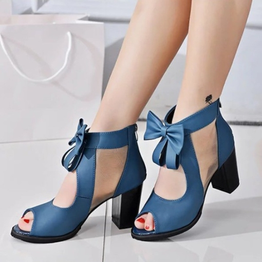 Peep Toe Zipper Plain Chunky Heel Hollow Women's Sandals