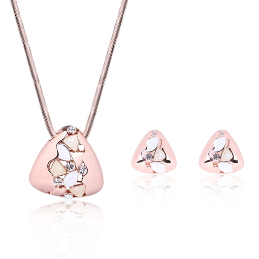 Rhinestone Inlaid Pink Triangle Pendant Two-Pieces Jewelry Set