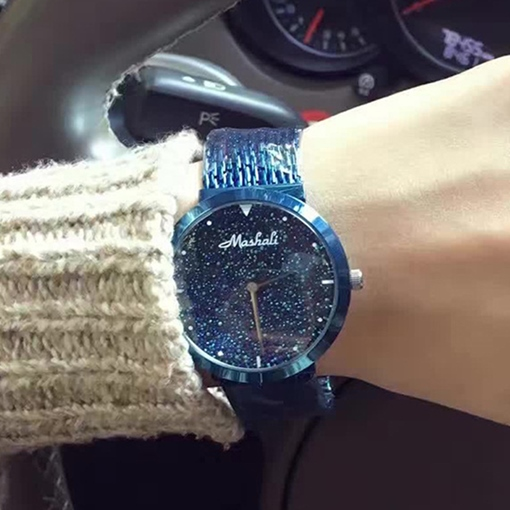 Beautiful Blue Starry Sky Design Women's Quartz Watch