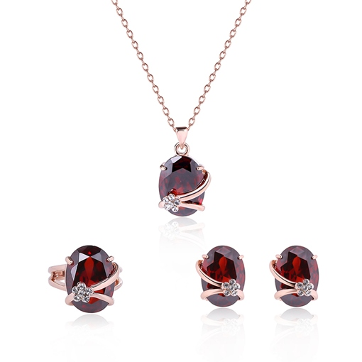 Red Oval Rhinestone Inlaid Three-Pieces Jewelry Set