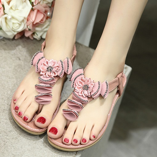 Floral Elastic Band Patchwork Plain Rhinestone Women's Sandals