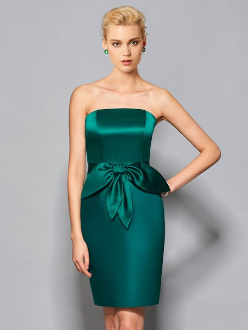 Strapless Sheath Ruffles Knee-Length Cocktail Dress