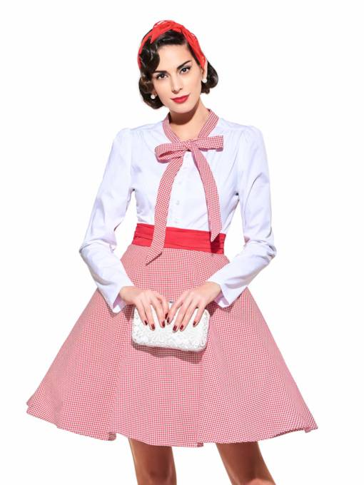 Tie Neck Standard-Waist Bow Collar Women's Day Dress