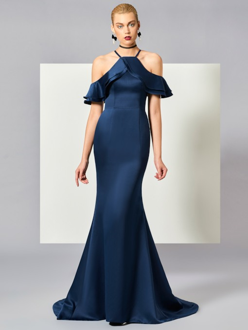 Ruffles Open Shoulder Mermaid Court Train Evening Dress