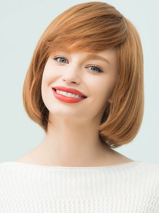Medium Straight Human Hair With Bangs Bob Style Capless Cap Wigs 12 Inches