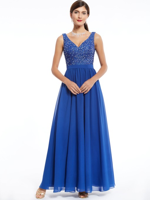 V Neck Zipper-Up Beaded Lace Evening Dress