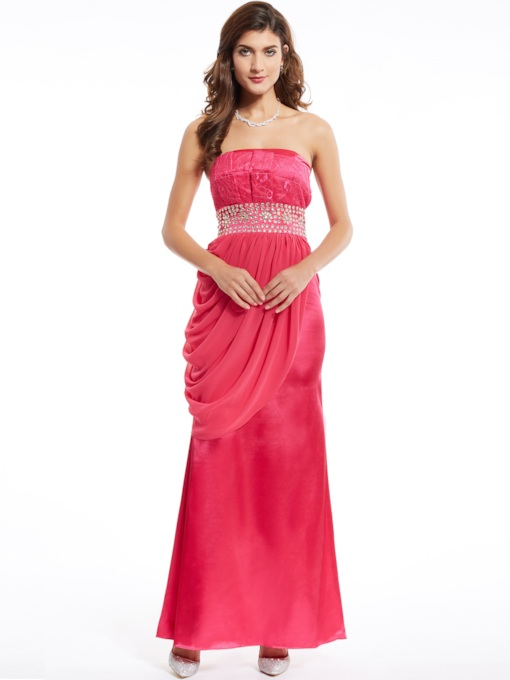 Sheath Strapless Beading Pleats Floor-Length Evening Dress