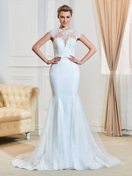 Scoop Neck Lace Appliques Mermaid Court Train Wedding Dress