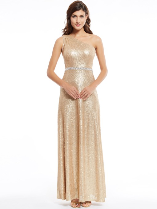 bc0d063b62 One Shoulder Sequins A Line Evening Dress
