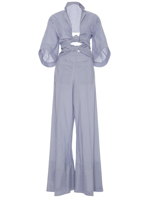 Striped Half Sleeve Pocket Wide Leg Women's Jumpsuit