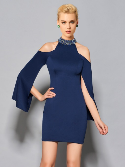 Jewel Sheath Long Sleeves Beading Short Cocktail Dress