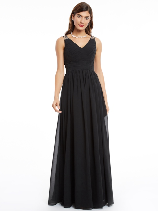Lace V-Neck A-Line Ruched Floor-Length Evening Dress