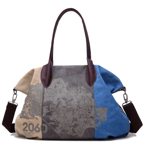 Vintage Graffiti Print Shoulder Bag