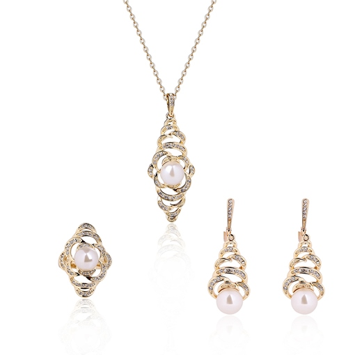 Water Droplets Pearl Design Gold Jewelry Set