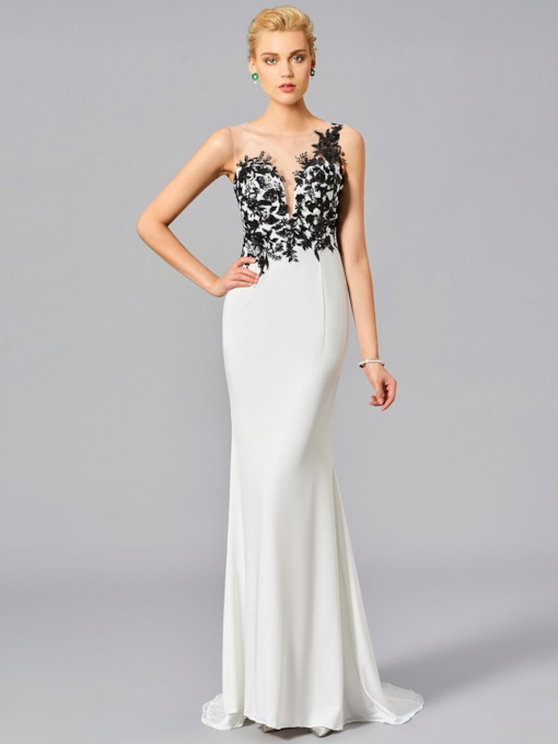 Scoop Mermaid Appliques Button Sweep Train Evening Dress