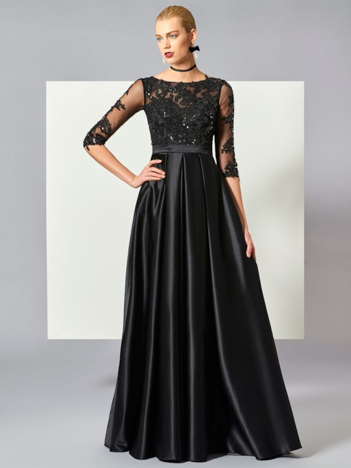 Half Sleeves Appliques Sequins Evening Dress