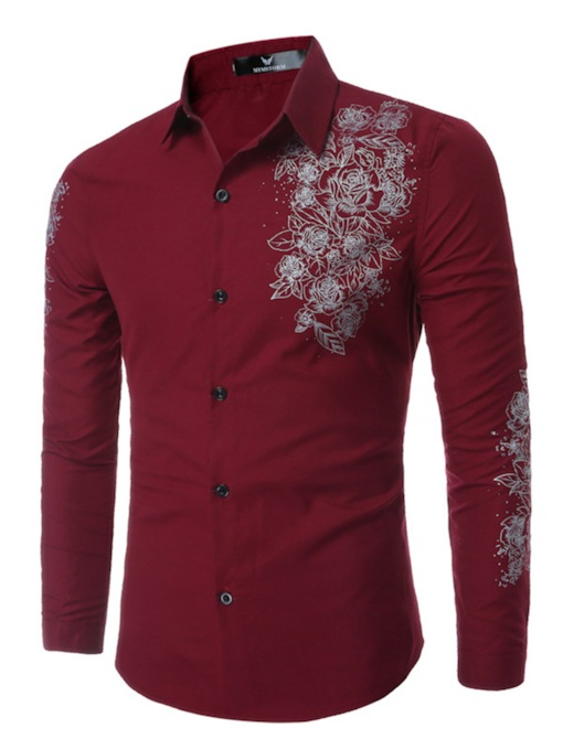 Lapel Digital Printed Slim Leisure Men's Long Sleeve Shirt
