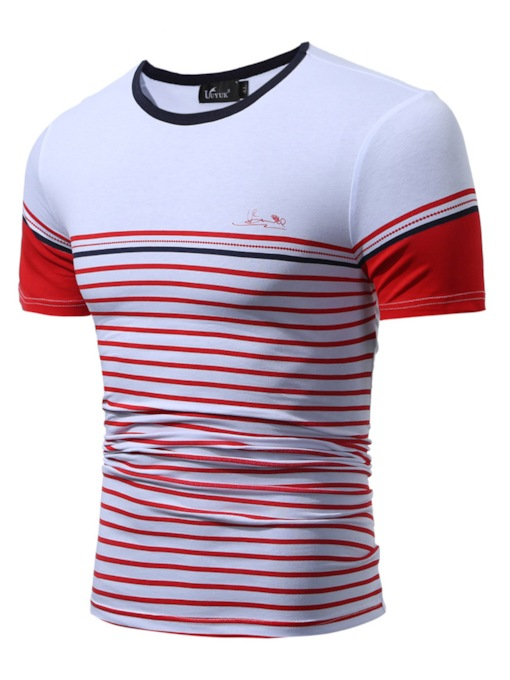 Stripe Color Block Men's Causal Cotton Blends T-Shirt