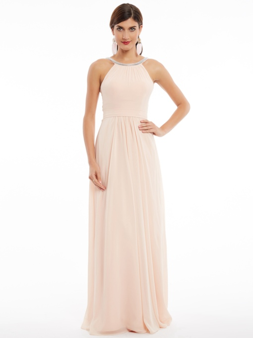 Halter A-Line Sleeveless Beading Ruched Floor-Length Evening Dress
