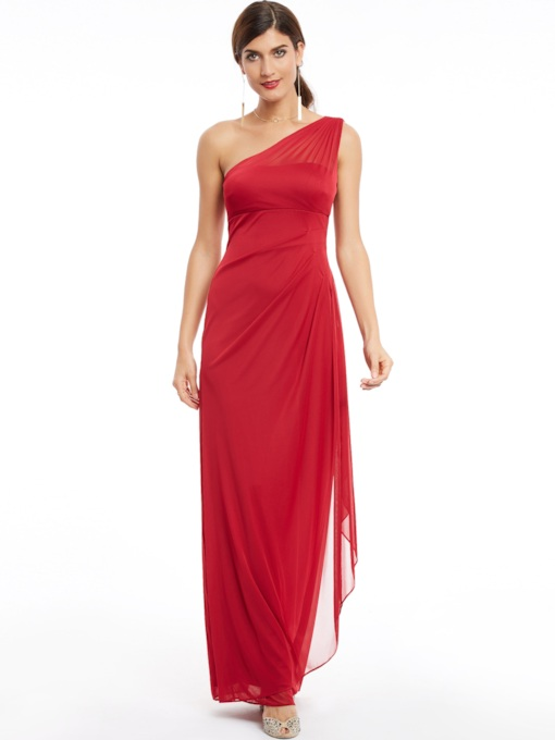 One Shoulder Zipper-Up Pleats Long Evening Dress