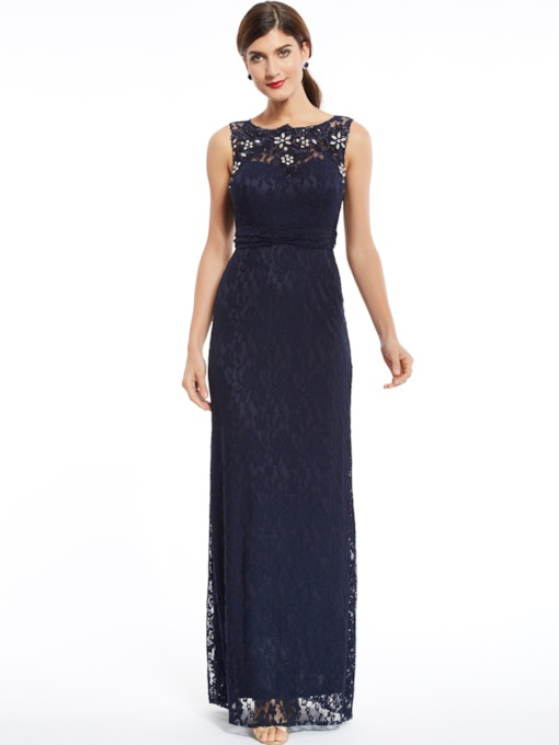 Bateau Neck Zipper-Up Beaded Lace Sheath Evening Dress