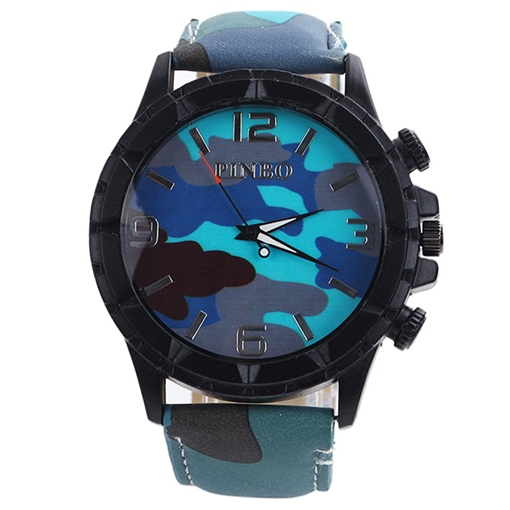Round Camouflage Surface Quartz Movement Men's Watch