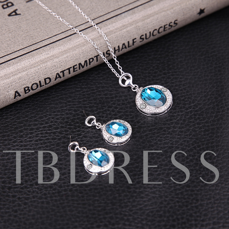 Party Blue Rhinestone Two-Pieces Jewelry Sets