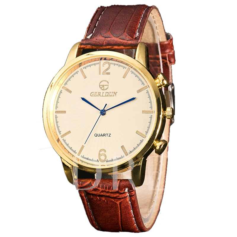 Artificial Leather Strip Alloy Dial Men's Quartz Watch