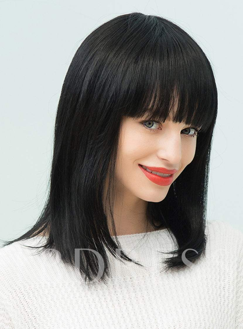 Natural Black Straight Medium Human Hair With Full Bangs Capless Cap Wigs 16 Inches