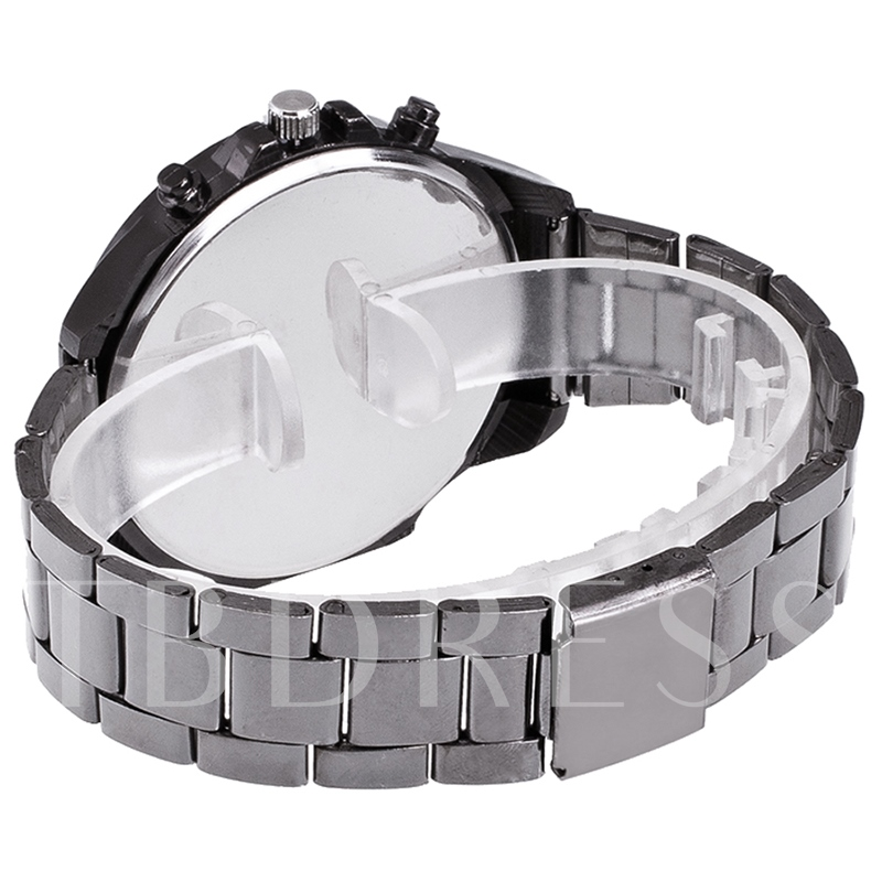 Large Dial Steel Band Men's Quartz Watch
