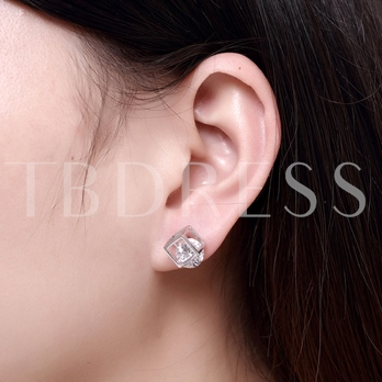 Square Zircon Inlaid 925 Silver Stud Earrings