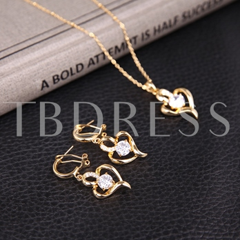 Gold Heart-Shaped Diamante Two-Pieces Jewelry Set