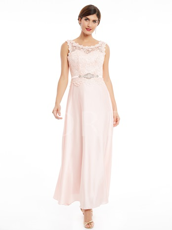 Scoop Neck Lace-Up Ankle-Length Lace Evening Dress