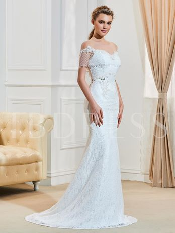 Lace Beading Gauze Scoop Neck Mermaid Wedding Dress