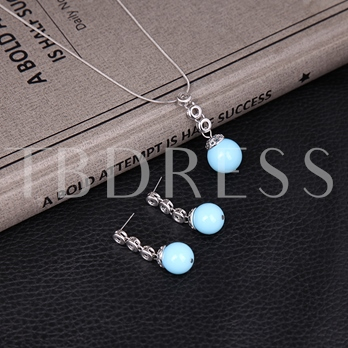 Blue Glass Stone Design Alloy Two-Pieces Jewelry Set