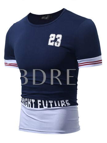 Men's Round Neck Casual T-Shirt with Chest Printed