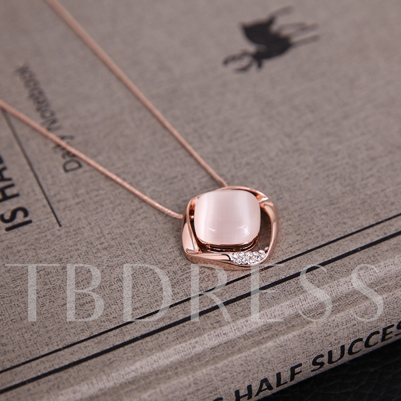 Pink Square Opal Inlaid Alloy Two-Pieces Jewelry Set