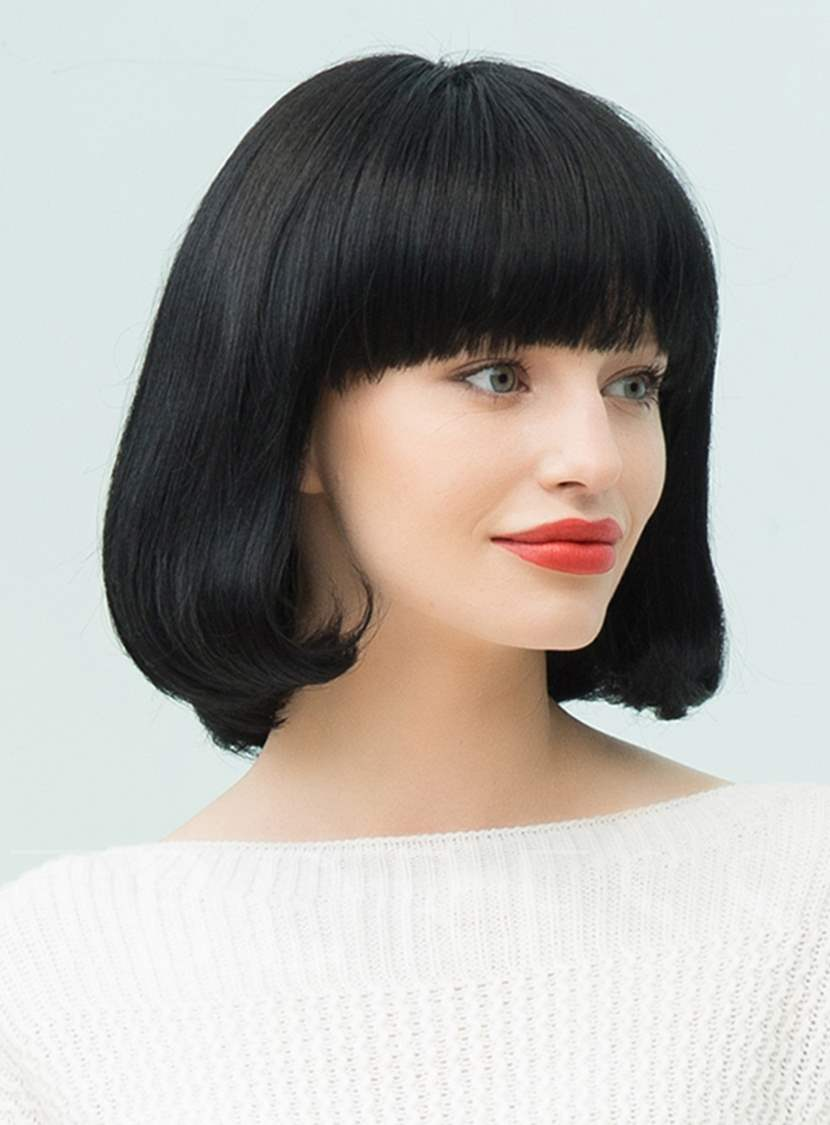 Black Natural Medium Straight Bob With Bangs Hairstyle Human Hair Blend Capless Wigs 12 Inches