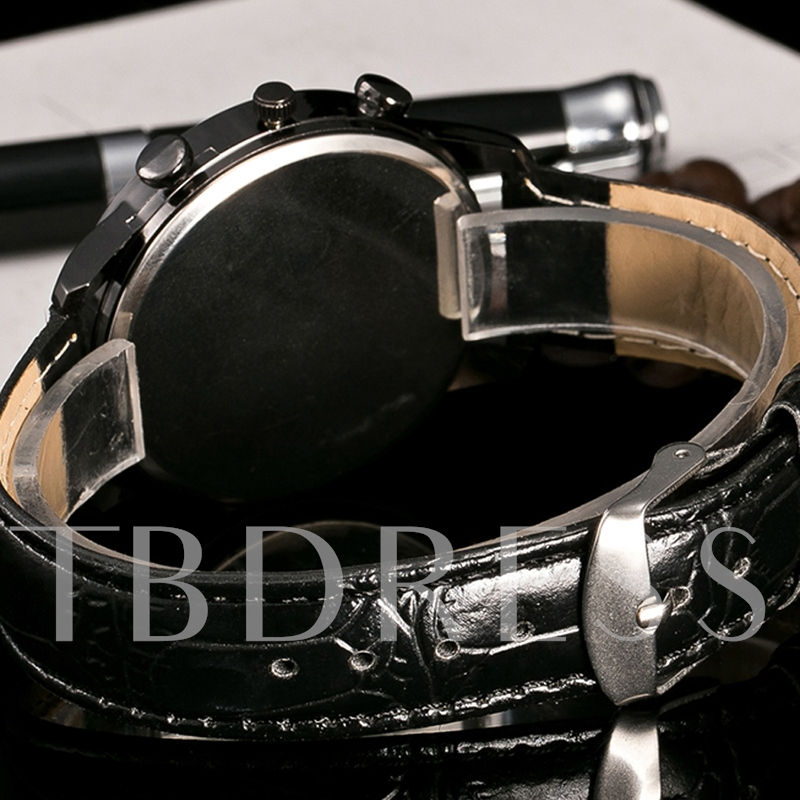 Roman Numeral Design Artificial Leather Band Men's Watch