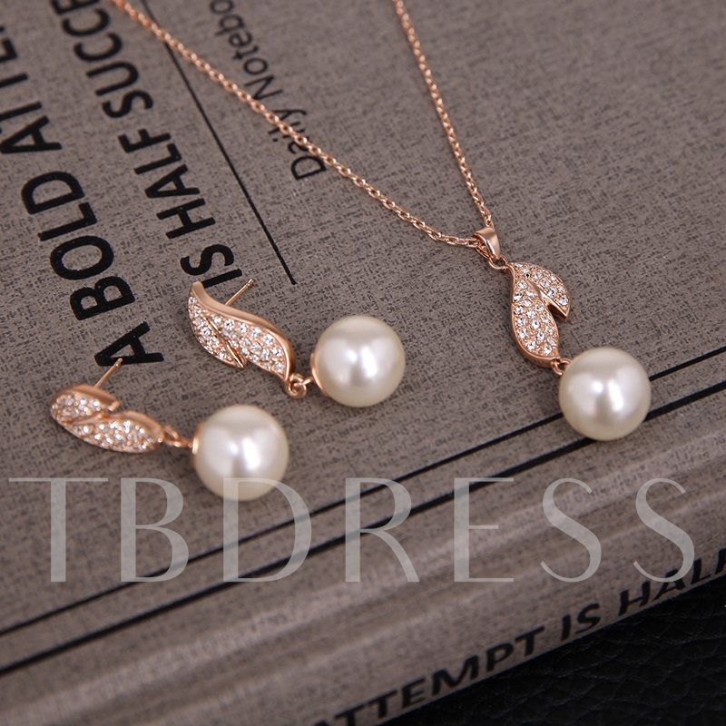 Alloy Diamante Leaf with Pearl Two-Pieces Jewelry Set