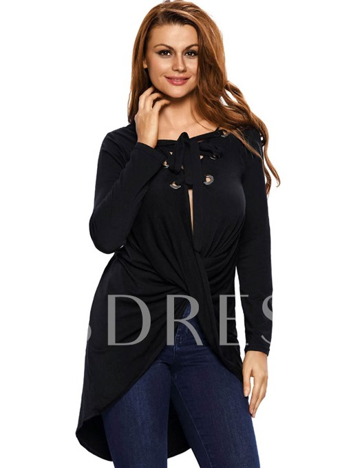 Asymmetric Lace-Up Long Women's T-Shirt