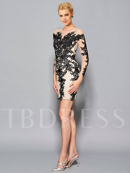 Sheath Round Neck Long Sleeves Appliques Lace Knee-Length Cocktail Dress