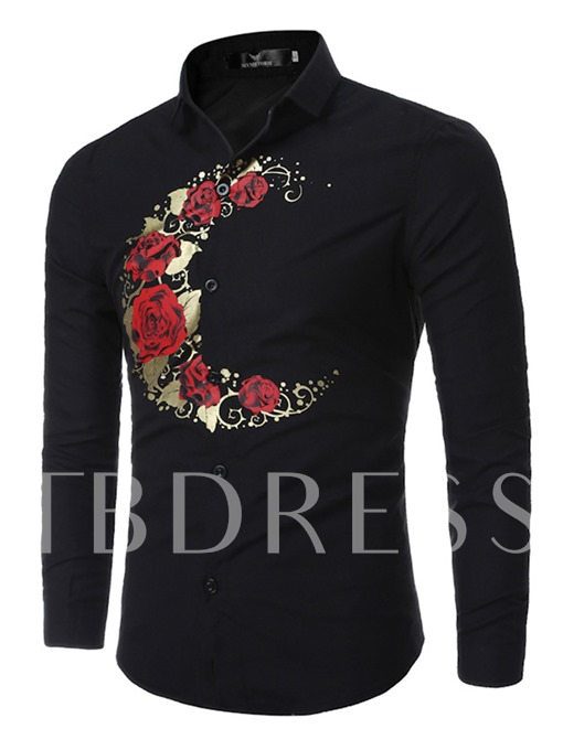 Floral Printed Causal Men's Long Sleeve Sshirt