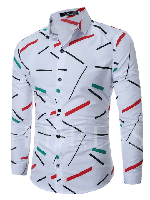 England Style Lapel Color Printed Slim Fit Men's Dress Shirt