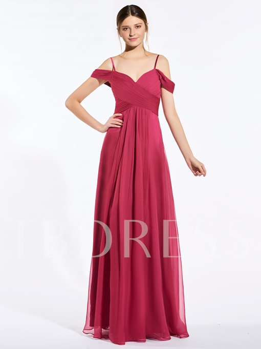 Spaghetti Straps Ruched Floor-Length A-Line Bridesmaid Dress