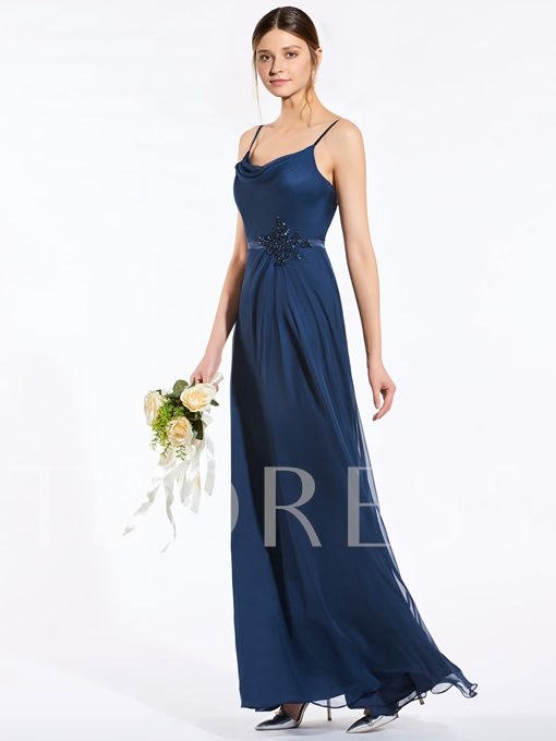 Spaghetti Straps Beading A-Line Bridesmaid Dress
