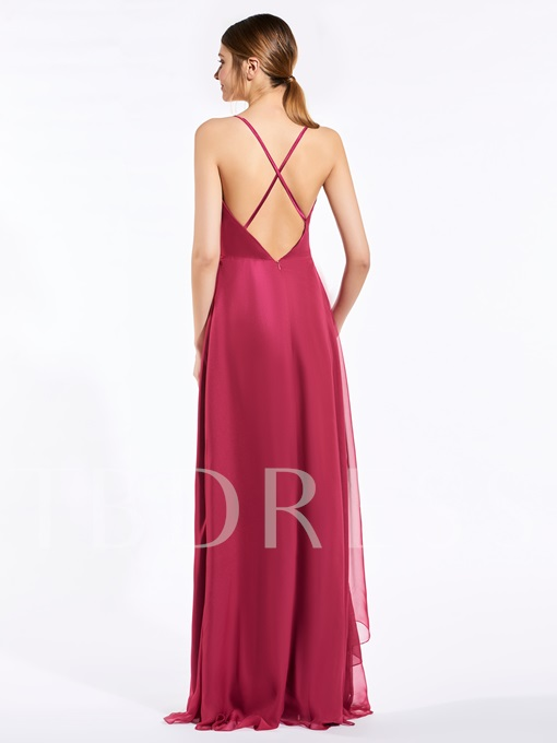 Spaghetti Straps Ruched A-Line Bridesmaid Dress
