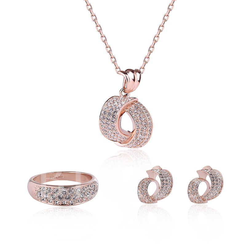 Rose Gold Full Rhinestone Three-Pieces Jewelry Set