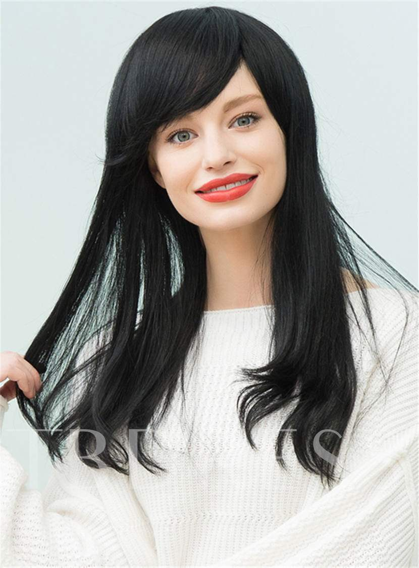 Natural Black Long Straight Human Hair With Bangs Capless Cap Wigs 22 Inches