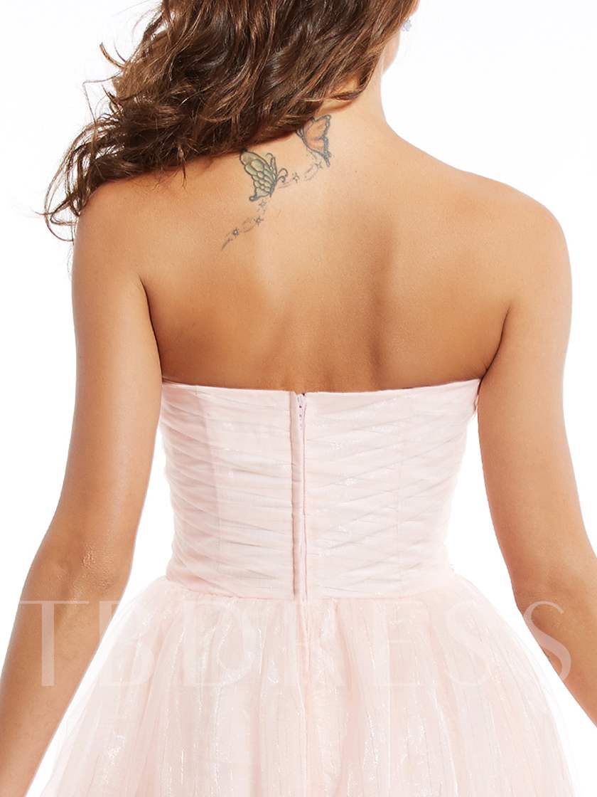 StrapLess Zipper-Up Appliques Tea-Length Evening Dress
